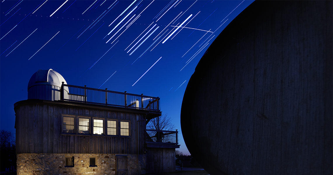 Star trails over Calamus Winery